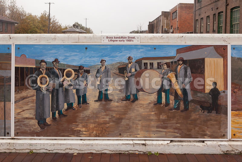 Mural showing Brass Band in Lthgow Australia in 1900