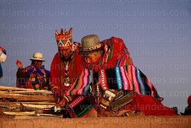 Aymara shamans or amautas performing ceremonies at start of Aymara New Year celebrations, Tiwanaku, Bolivia