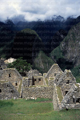 Inca houses, Putu Cusi peak and Urubamba Canyon, Machu Picchu, Peru