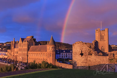 Rainbow at sunset, Aberystwyth Castle & Old College