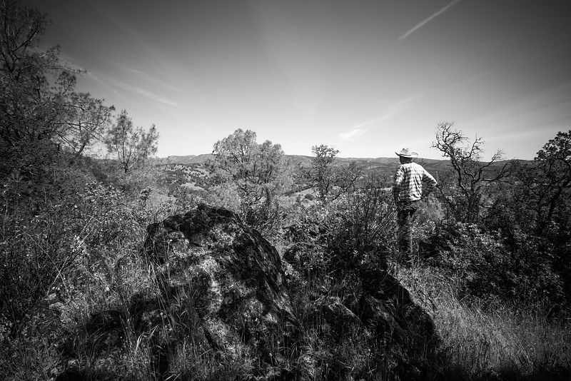 A cowboy surveys the rustic landscape in Lake County, California. Advertising portrait by Jason Tinacci