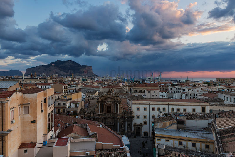 Elevated View of the Palermo Skyline Looking Towards Monte Pellegrino from Via Roma