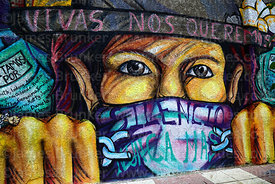 Detail of mural remembering victims of femicide and protesting against violence against women, Tarija, Bolivia