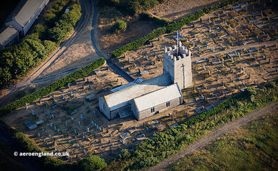 St Symphorian's parish church  Forrabury Cornwall from the air