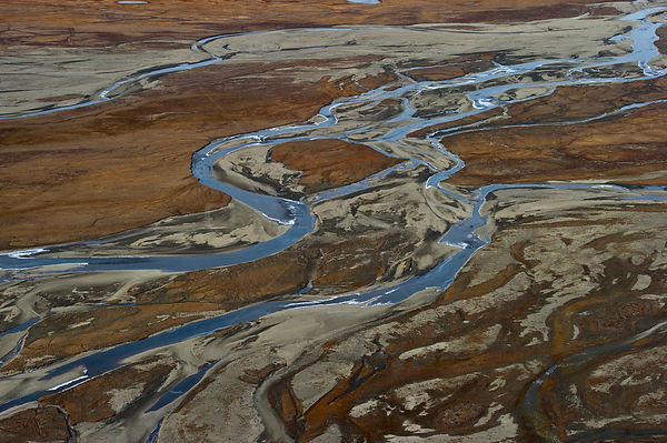 Aerial view of rivers in Wrangel Island, Far Eastern Russia, September 2011.