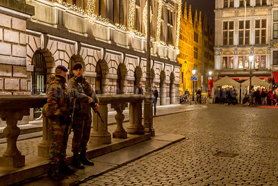 Armed Soldiers on duty at the Christmas Market in Grote Markt in Antwerp