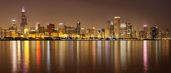 Chicago Skyline Panorama at Night Picture