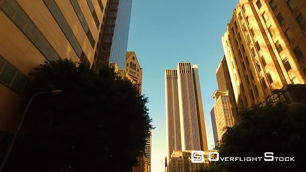 Downtown Los Angeles Driving Plates Buildings With Lights With Traffic Sunset California