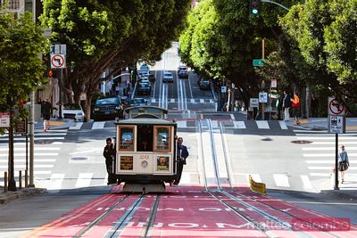 Iconic cable car in the streets of San Francisco, California, USA