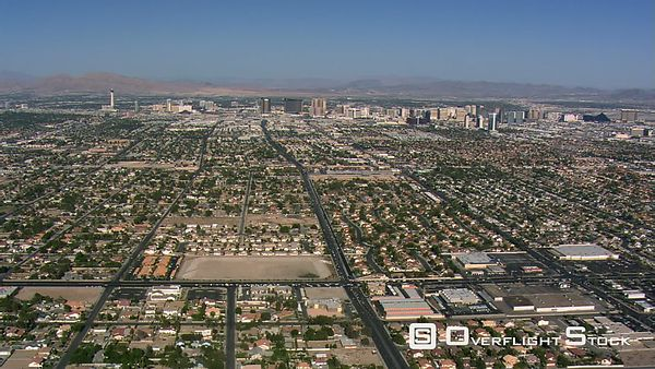 Approaching Las Vegas from above residential areas.