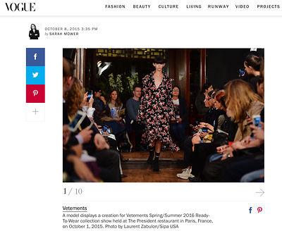 "Vogue, Défilé ""Vêtements"" Spring/summer 2016"