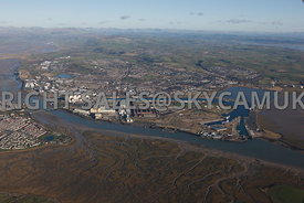 High level view of the docks and Barrow in Furness Lancashire