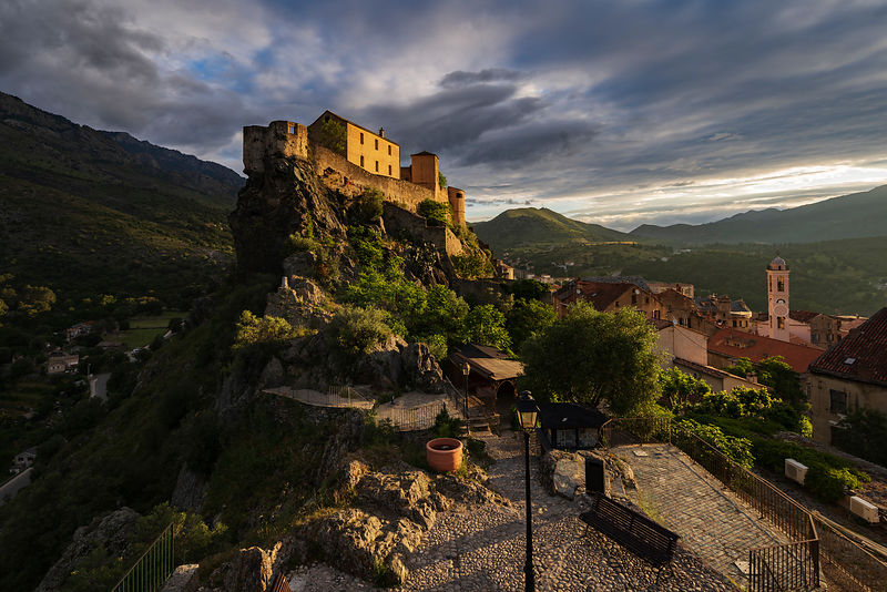 View of the Citadel of Corte from the Panoramic Viewpoint at Sunrise