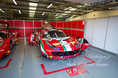 In the pit lane with the AF Corse Ferrari 458 Italia GT3 team at the Silverstone 500 - the third round of the British GT Cham...
