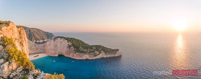 Panoramic sunset on shipwreck beach and sea, Zakynthos, Greece