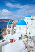 Summer in the island of Santorini, Mediterranean sea, Greece