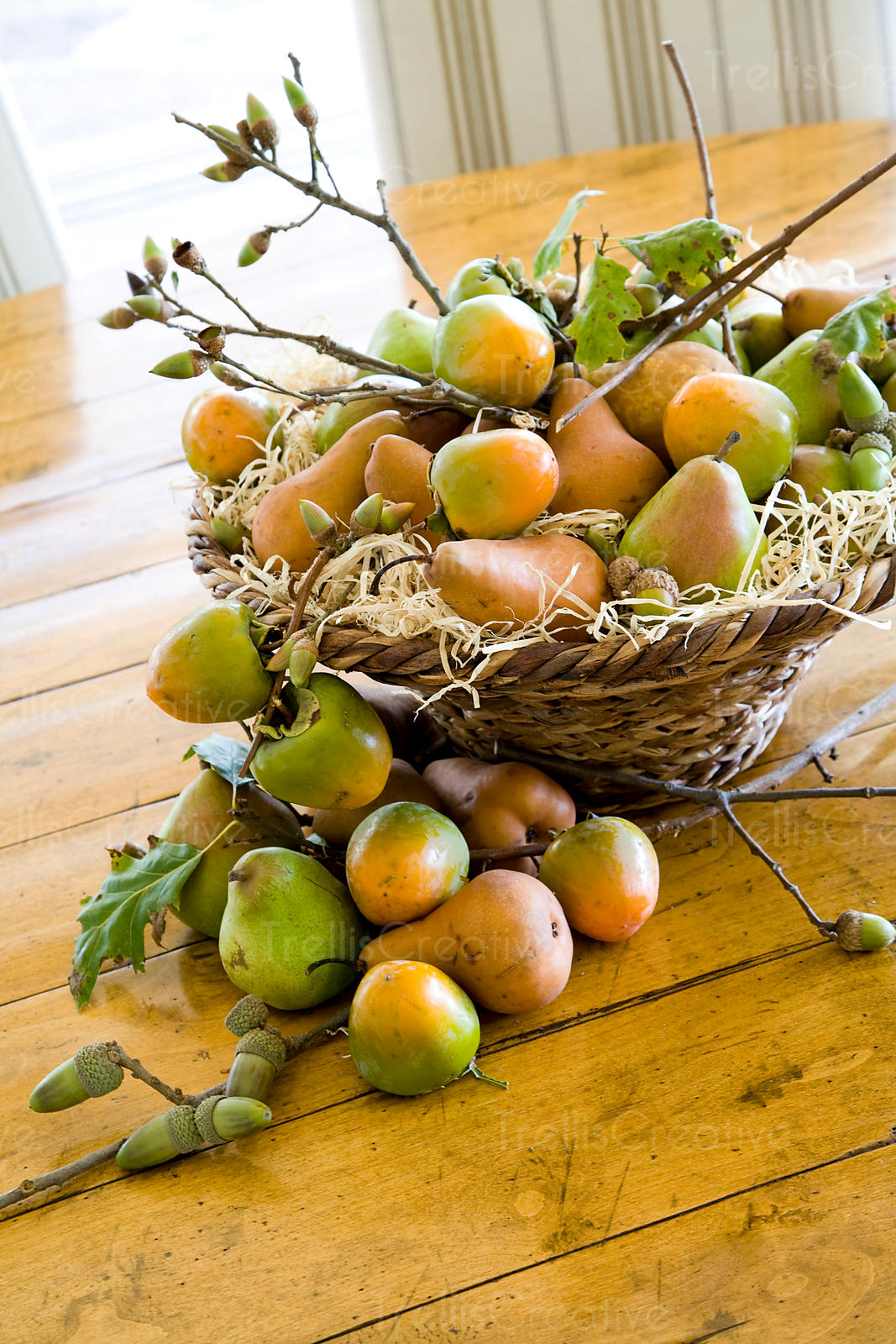 An table arrangement of fruit