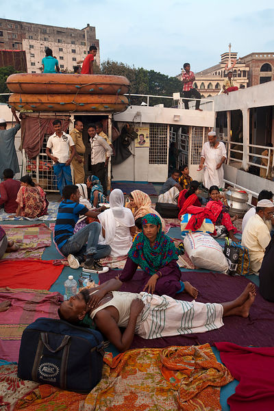 Bangladesh - Dhaka - Passengers on a ferry on the Buriganga river at  Sadarghat