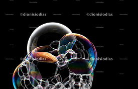 Set of shiny and multicolored soap bubbles on black background