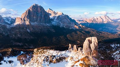 Aerial view of sunset over mountains, Dolomites