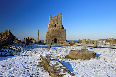 Aberystwyth castle in the snow