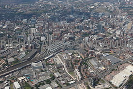 Manchester high level aerial photograph of the area surrounding Piccadilly Railway Station and Chapeltown Street looking acro...