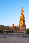 Spain, Andalusia, Seville. Plaza de Espana at sunset