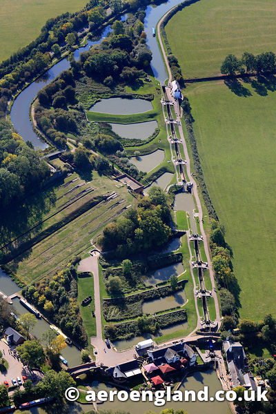 aerial photograph of Foxton Locks  , a staircase of 10 locks on the Grand Union Canal