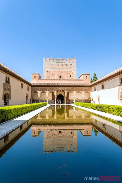 Spain, Andalusia, Granada. The Alhambra, Court of the Myrtles (Patio de los Arrayanes)