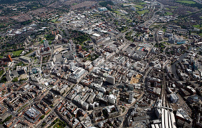 panoramic aerial photograph of Leeds City Centre UK