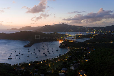 Elevated view at dusk over English Harbour and Nelson's Dockyard from Shirley Heights, Antigua, Antigua and Barbuda, Leeward ...