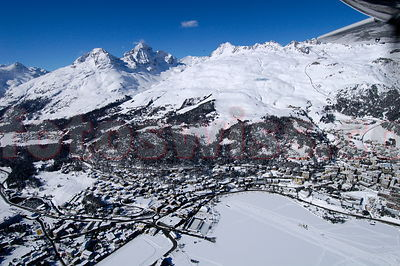 Airview of St. Moritz and surroundings in winter.