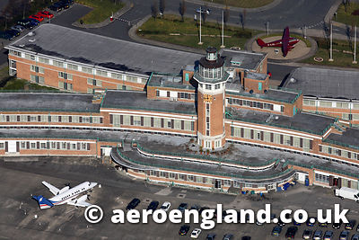 aerial photograph of  Liverpool Airport  Merseyside UK