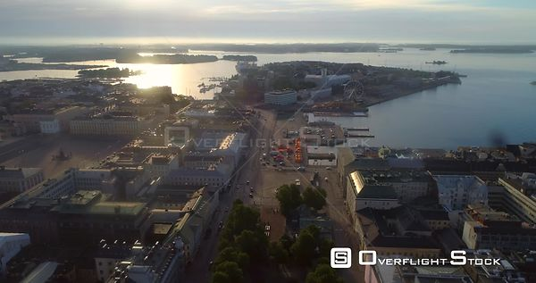Helsinki Market Square, Aerial View of Kauppatori, the South Harbour and Katajanokka Bay, on a Sunny Summer Morning Dawn, in ...