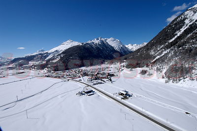 Airview of St. Moritz Bever and surroundings in winter.