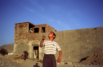 Boys flying kites, Mazar-i-Sharif
