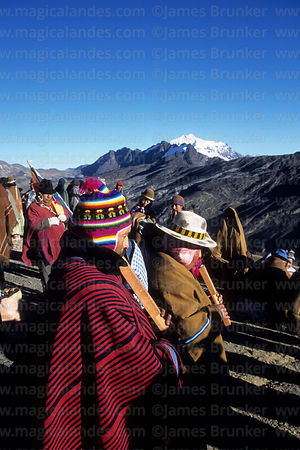 Aymara tarqueada musicians playing tarkas (a type of flute) during Aymara New Year celebrations, La Cumbre, Cordillera Real, ...