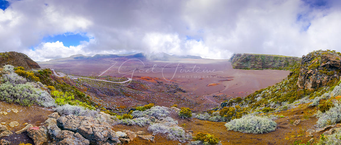 Panoramic view of La Plaine des Sables, volcano area, Reunion Island