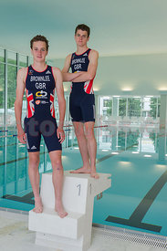 Alistair and Jonathan Brownlee, Triathlon Olympic Medalists in London 2012 enjoy the training facility OVAVERVA in St.Moritz,