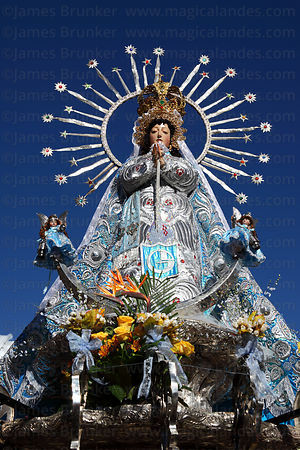 Virgen of the Immaculate Conception during parades for Corpus Christi festival , Cusco , Peru