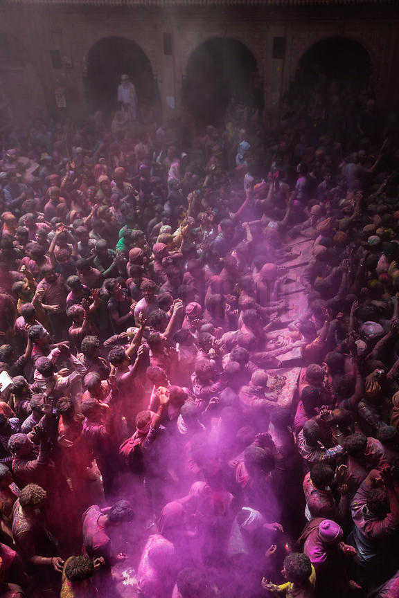 Revellers Play Holi in the Shri Banke Bihar Mandir