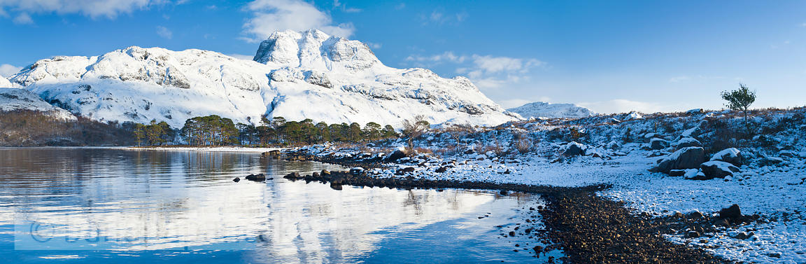 BP2346 - Panoramic view of Slioch, from Loch Maree, Winter