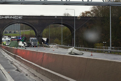 Wreckage Strewn over Carriageway after Truck Crash on English Motorway