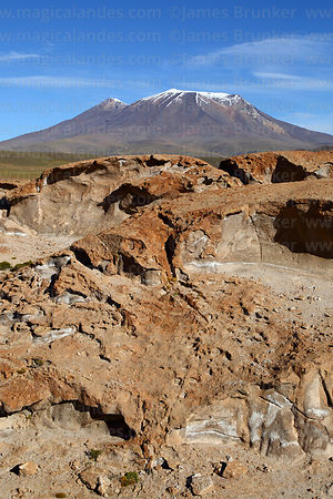 Eroded volcanic lava flows and Cerro Caquella volcano, Nor Lípez Province, Bolivia