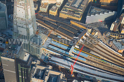 Aerial view of The Shard and London Bridge Station, London