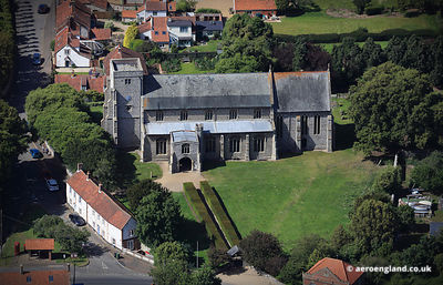 aerial photograph of All Saints Church, Thornham, Norfolk, England UK