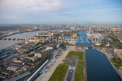 Aerial view of East London, King George V Dock, Canning Town with Silvertown.