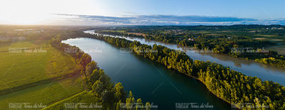 Aerial view bordeaux vineyard and garonne river