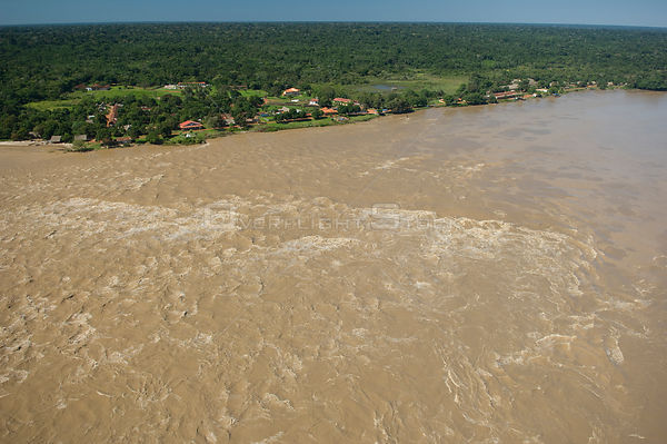 Aerial view of rapids on the Beni River at Cachuela Esperanza, Pando Department (border with Beni Department), Northeastern B...