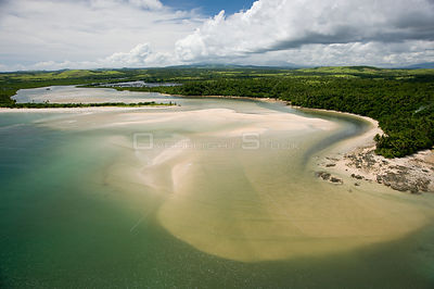 Aerial view of river estuary and coast, Camarines Sur, Pacific Coast, Luzon, Philippines 2008